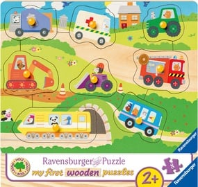 Medinė dėlionė Ravensburger My First Wooden Favourite Vehicles 036844