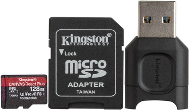 Kingston Canvas React Plus 128GB microSDXC UHS-II Class 10 w/Adapters