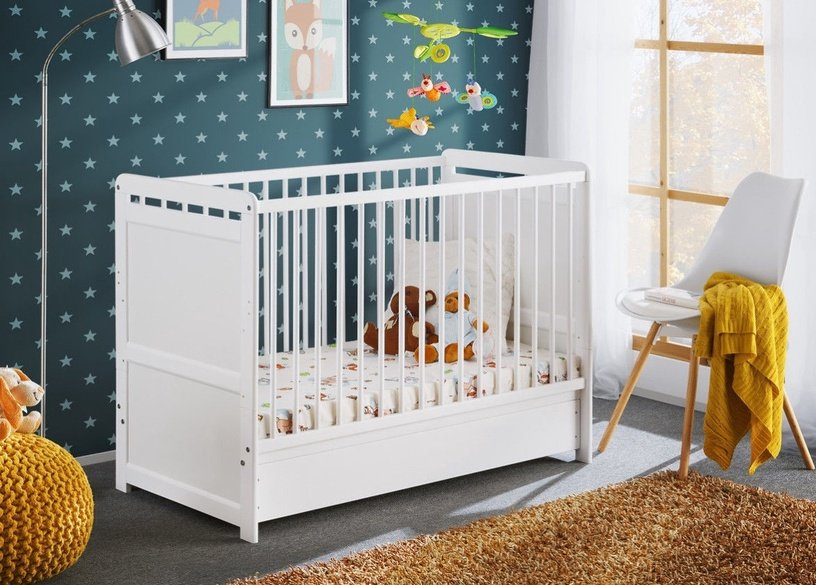 ASM Tymek Plus Baby Cot with Mattress White