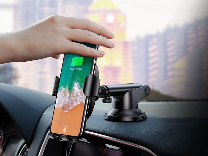 Baseus Osculum Gravity Car Holder With Wireless Qi Charger Black