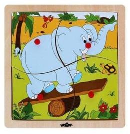 Puzle Woody Elephant Educational 93017, 4 gab.