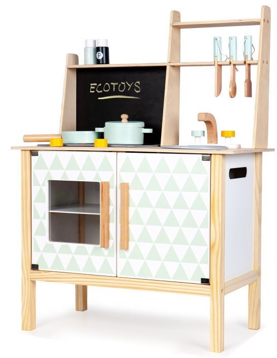 Bērnu virtuve EcoToys Wooden With Board For Childrens White