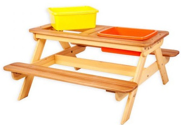 Folkland Timber Multifunctional Children's Picnic Table With Baths Yellow/Brown