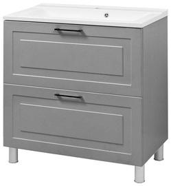Vento Alba Bathroom Cabinet With Sink Gloria 80cm Grey