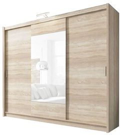 Skapis Piaski Wiki 250 Sonoma Oak, 250x62x214 cm, with mirror