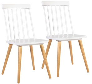 Home4you Chairs Simple 2pcs White/Natural