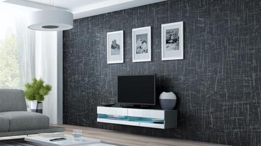 TV staliukas Cama Meble Vigo New 140 Grey/White Gloss, 1400x300x1400 mm
