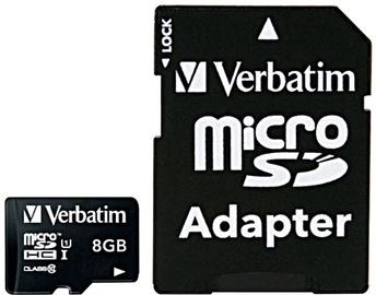 Verbatim 8GB Premium microSDHC U1 Class 10 + SD Adapter