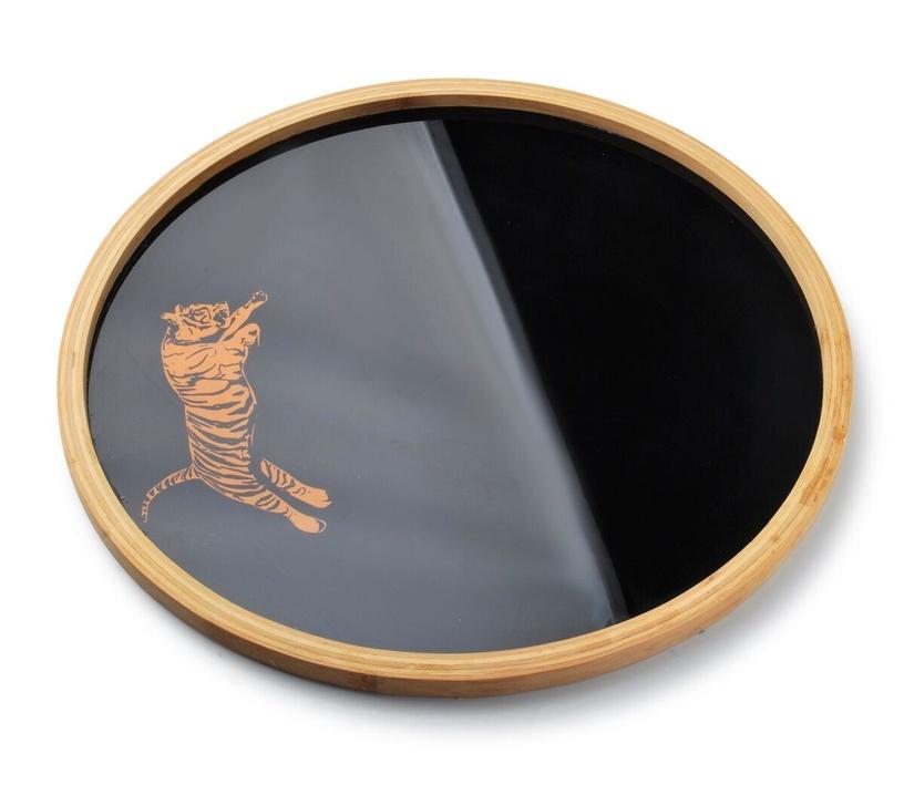 Mondex Tiger Black Round Tray 38x2cm