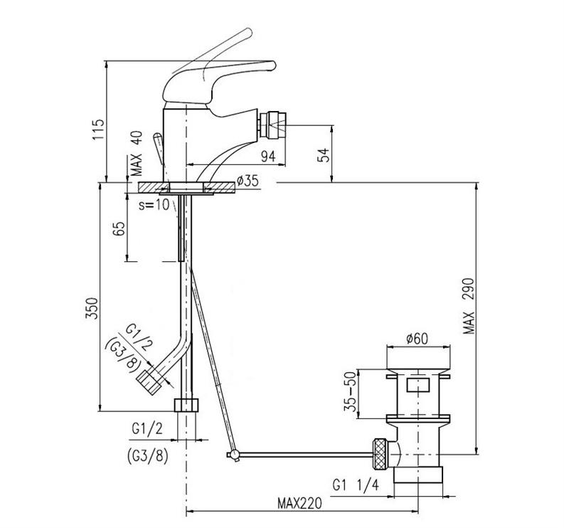 Ūdens maisītājs bidē Rav S345.5 Svitava 94x115x40mm