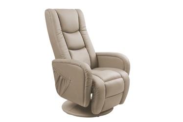 Fotelis Pulsar, su masažo ir šildymo funkcija, kapučino spalvos