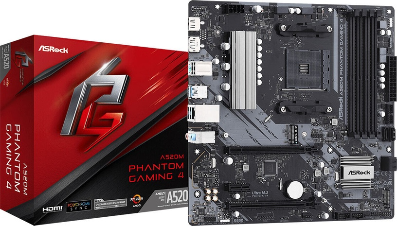 Mātesplate ASRock A520M PHANTOM GAMING 4
