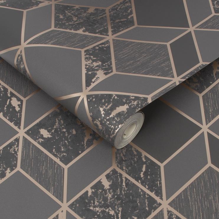 Tapetas vinilinis, popieriaus pagrindu, Graham & Brown, 107963, Vittorio, rudas su bronza, geometrinis