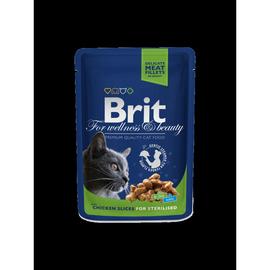 Konservuotas ėdalas katėms Brit Premium Chicken Slices Sterilised, 100 g
