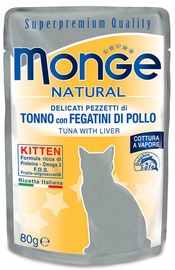 Monge Natural Tuna With Chicken Livers Kitten 80g