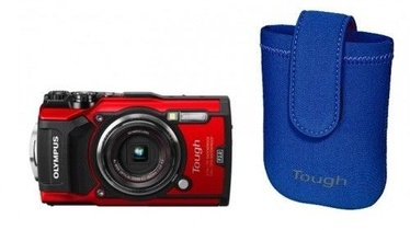 Olympus TG-5 Red + Neoprene Case Blue