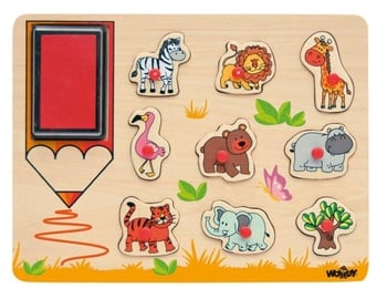 Woodyland Wooden Puzzle Stamps Wild Animals 10pcs