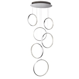 Krištolinis pakabinamas šviestuvas Searchlight Rings 3166-6CC, 56W LED
