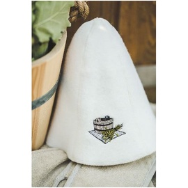 Sauna hat with bucket picture, white color 100% wool