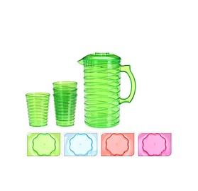 Plastikinis ąsotis su stiklinėmis