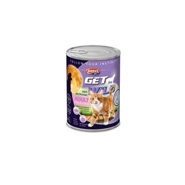 Konservi pieaugušiem kaķiem Panzi Get Wild, ar zivi un āboliem, 415 g