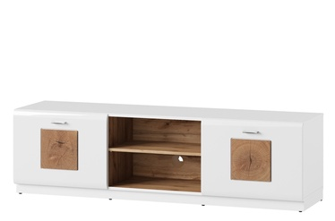TV-laud Szynaka Meble Wood 25 White/Wotan Oak, 1550x400x440 mm