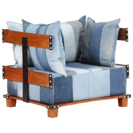Tugitool VLX Sofa Denim Fabric, sinine/pruun, 67 cm x 80 cm x 62 cm