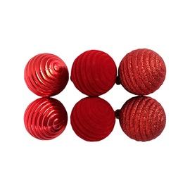 Ziemassvētku eglītes rotaļlieta Christmas Touch N3/50L1706A, sarkana, 50 mm, 6 gab.