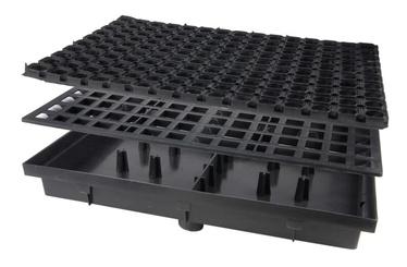 Drenāžas tvertne ar gumijotu kurpju zoļu tīrīšanas paklājiņu Maxpol 408x600x70mm, PP
