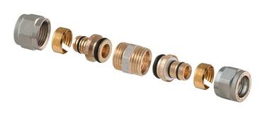 Išardomoji užveržiama jungtis, TDM Brass, dviguba, 18 x 18 mm