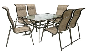 Home4you Montreal Table And 6 Chairs Beige