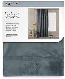 AmeliaHome Velvet Pleat Curtains Charcoal 140x270cm