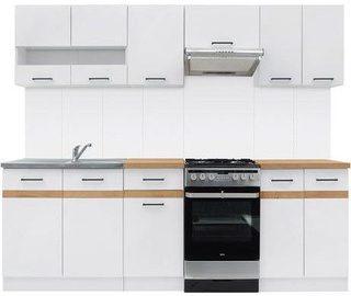 Virtuvės baldų komplektas Black Red White Junona White/Sonoma Oak, 2.3 m