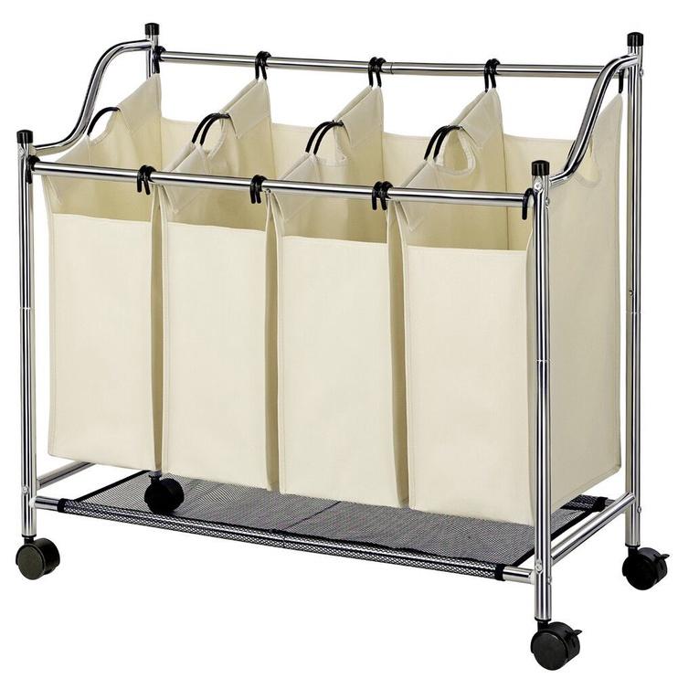Songmics Laundry Cart 4 Bags White