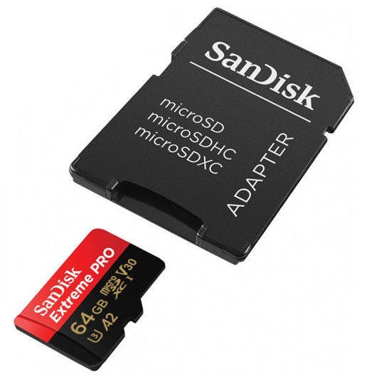 Sandisk A2 Extreme Pro 64GB Class 10 U3 V30 MicroSDXC Memory Card + SD Adapter