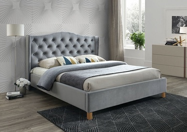 Кровать Signal Meble Scandinavian Aspen Velvet, серый, 216x198 см, с решеткой