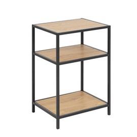 Kafijas galdiņš Home4you Seaford 2, melna/ozola, 420x350x630 mm
