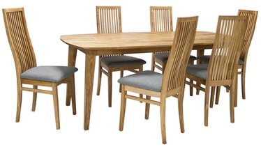 Home4you Dining Set Retro 6 Grey/Oak
