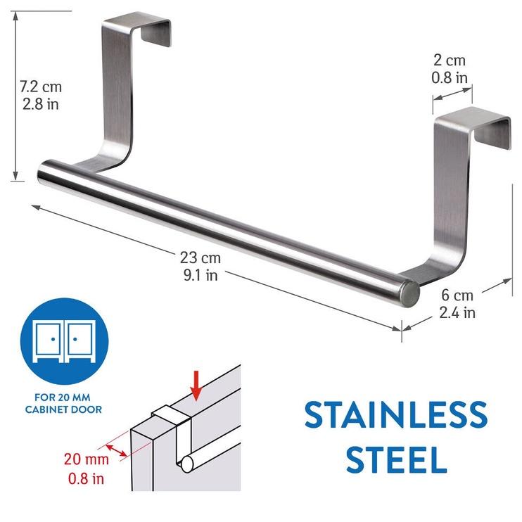 Tatkraft Horizon Over The Door Towel Rail Stainless Steel
