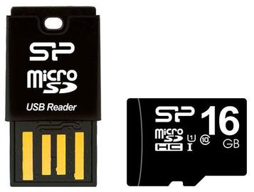 Silicon Power Key USB Card Reader + 16GB microSD Card Black