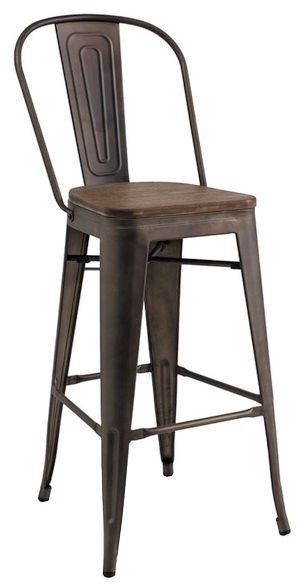 Baro kėdė Signal Meble Loft H-1 Dark Nut/Graphite, 1 vnt.