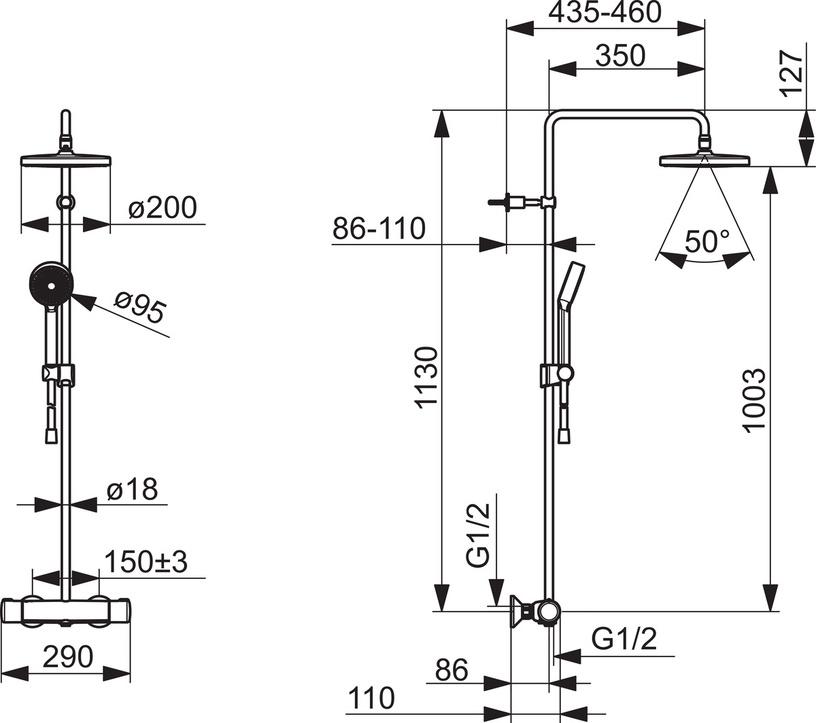 Termostatinis dušo komplektas Oras Nova 7402U