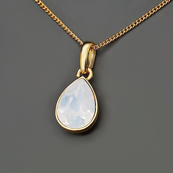 Diamond Sky Pendant Crystal Drop White Opal With Swarovski Crystals