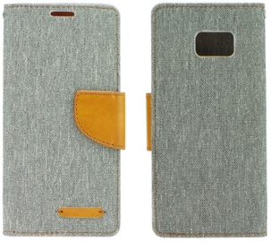 Forcell Canvas Book Case For Samsung Galaxy J7 J730F Grey