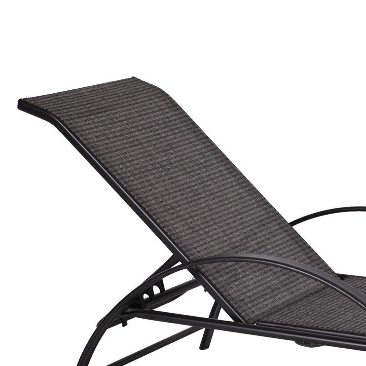 Gultas Home4you Boston Deck Chair Grey, 1980x650x950 mm