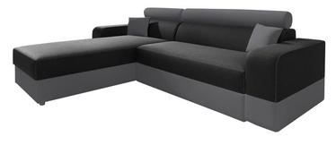 Stūra dīvāns Idzczak Meble Infinity Lux Black/Grey, kreisais, 184 x 184 x 95 cm