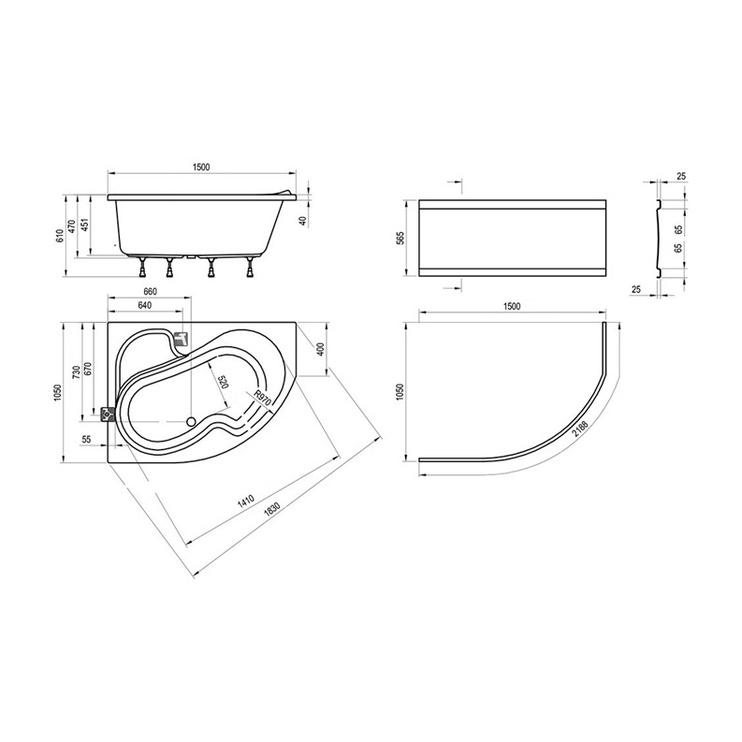 Vonia Ravak Rosa, 150x105x45 cm, akrilas, kairinė