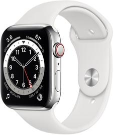 Išmanusis laikrodis Apple Watch Series 6 GPS LTE + Cellular, 44mm Stainless Steel White Sport Band, sidabro