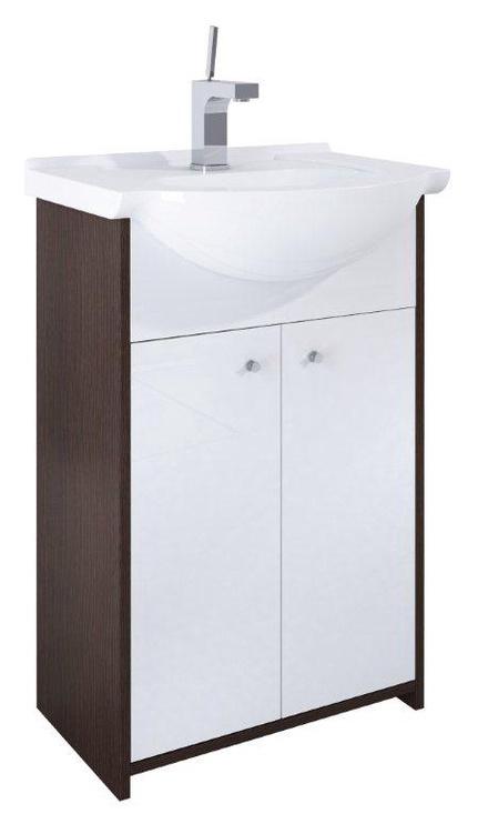 Pastatoma vonios spintelė su praustuvu Thema Lux 165722 , balta-ruda