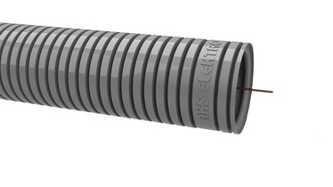 Gofruotas instaliacinis vamzdis RKGLP 25, PVC, pilkas, su viela, 50 m